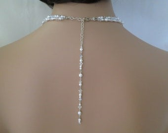 Swarovski back drop bridal necklace, Crystal and pearl wedding necklace, Double strand necklace