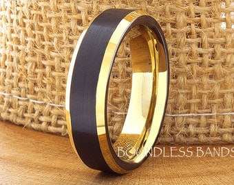 Tungsten Wedding Ring Black Yellow Gold Beveled Edges 6mm Tungsten Ring Men Women His Her Custom Handmade Personalized Free Engraving New
