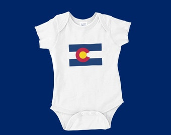 Colorado Flag Onesie for Newborns, Infants, and Toddlers.  We can print any state with the Colorado Flag or any custom design you want!
