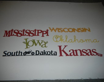 US State Laser Cuts, sold separately