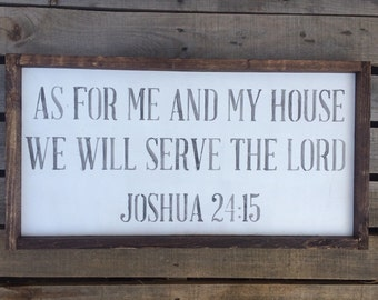 "Rustic, Wooden, Framed, Sign ""As for me and My house we will serve the Lord"""