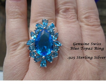 Swiss Blue Topaz Ring .925 Sterling Silver
