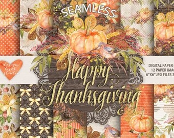 """Watercolor """"Happy Thanksgiving"""" digital papers,  Autumn Leaves, Fall, watercolor clip art, hand painted, leaves, watercolour clip art"""
