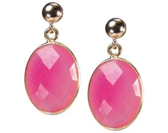Gemstone earrings. Chalcedony pink