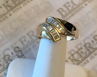 Vintage 14k yellow gold 14mm wide 26 Baguette Diamond Bypass Ring, .50 tw I-SI1-I1 size 10