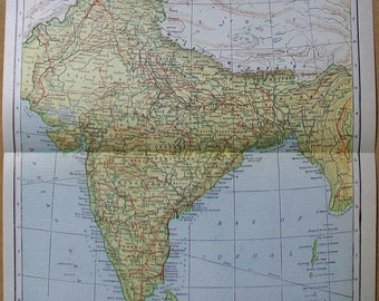 "Vintage 1921 Map of India - 9"" x 11"""