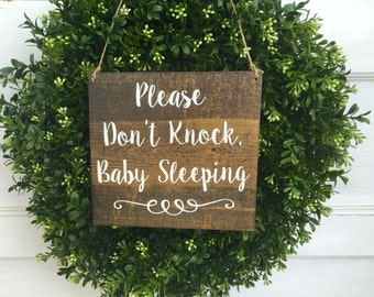 Please don't knock baby sleeping  - Do not disturb sign - Baby sleeping sign - Nap time sign - Sleeping Baby sign - Baby shower gift