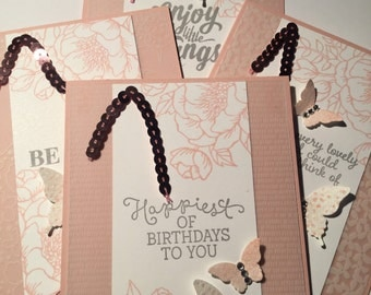 Enjoy the little things, set of four handstamped cards