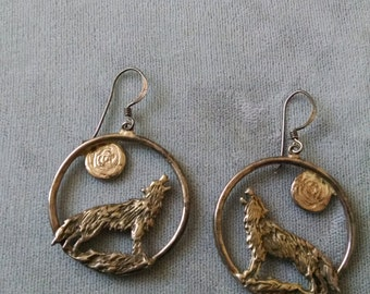 1989 S.D. Sterling Silver Wolf Moon Earrings Free Shipping