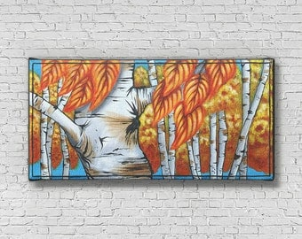 Tree Wall Art - Canvas Tree Prints - Colorful Birch Tree Prints - Tree Canvas - Birch Bark - Tree Wall decor - Nature Decor - Tree painting