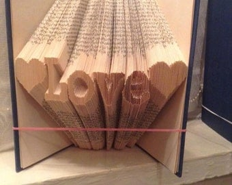 Book folding art pattern for Love with hearts either side