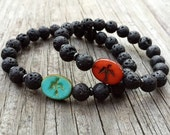 Stackable Mala Inspired Essential Oil Diffuser Lava Bead + Artisan Glass Bead Yoga and Meditation Bracelet (1 bracelet)