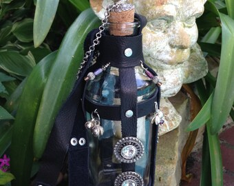 Glass Leather Beads Potion Poison Bottle Large with Leather Strap Renaissance Pirate Gypsy Fairy Flask