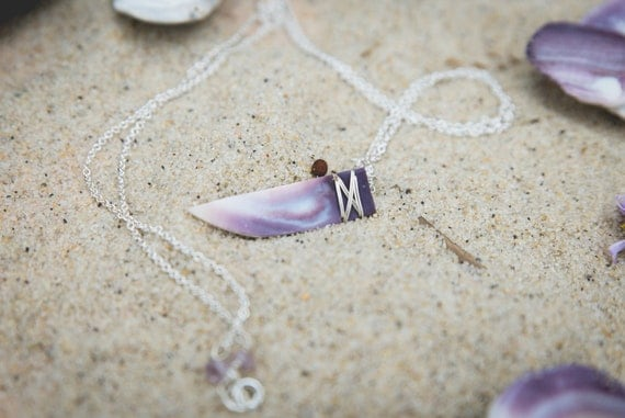 """wampum fang necklace on sterling silver chain 24"""" handmade on martha's vineyard"""