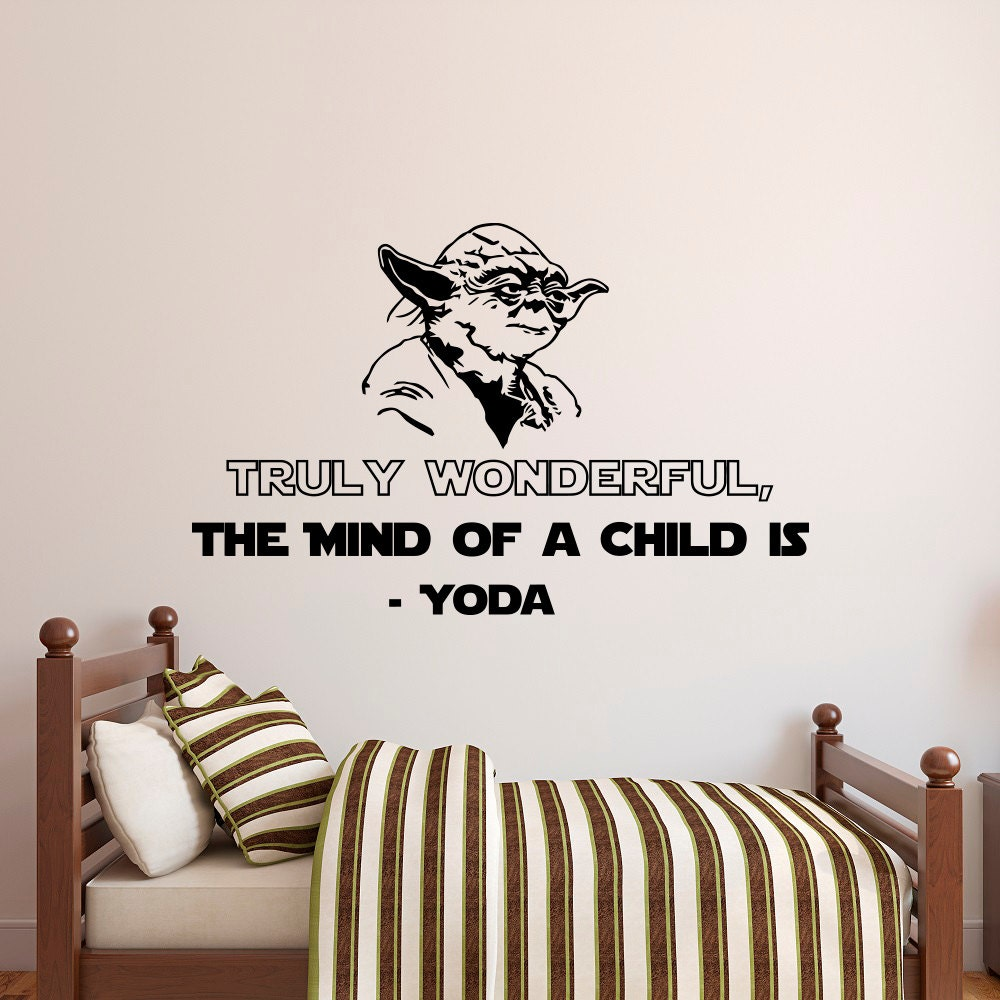 star wars wall decal quote truly wonderful the mind of a child. Black Bedroom Furniture Sets. Home Design Ideas