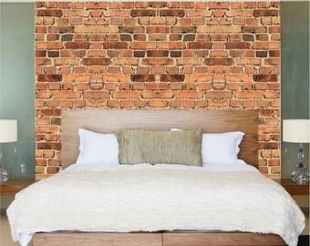 Brick Decals, Brick Wall Paper, Brick Murals, Removable Brick Wall Mural, Brick Wall Decal, Brick Applique for Walls, Brick Wall Decor, c13