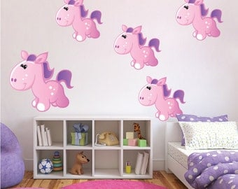 Pony Wall Decals, Kids Bedroom Pony Decals, Girl's Room Pony Wall Stickers, Pony Wall Art Designs, Girls' Room Pony Murals, Removable, n45
