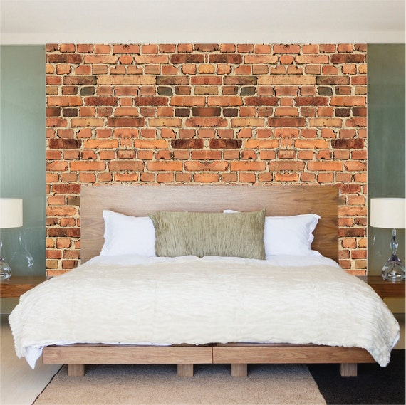 Brick decals brick wall paper brick murals removable by for Brick wall mural decal