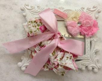 Vintage Floral Ruffle Bloomers & Headband Set