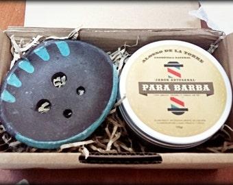 Box beard natural SOAP + ceramic SOAP dish