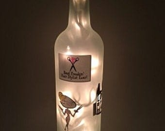 Hairstylist Wine Bottle Light (in your color choice)