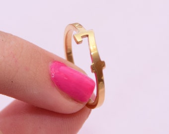 """Number 7 """"Seven"""" Gold Number Shape Ring - Sterling Silver 925 Gold Plated Goldsmith Workshop Hand Made Lucky Numbers Jewelry Item"""