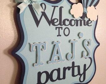 Hot air balloon door sign, Hot air balloon, Hot air balloon birthday,Birthday party door sign, Birthday door signs, Hot air balloon theme