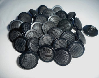 Vintage Black Buttons, Metal Shanks, Antique Coat Buttons, Black Buttons