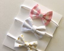 The Harper Set of 3 Itty Bitty Small Pink Stripe / White / Gold Polka Dot Bows Nylon One Size Headband Newborn / Baby / Toddler / Girls