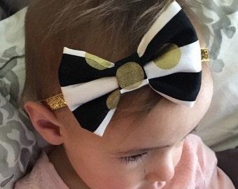 Black & White Stripe Gold Polka Dot Headband One Size or Hair Clip Newborn / Baby / Toddler / Girls