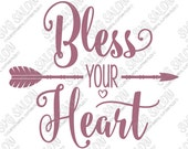 Bless Your Heart Love Arrow Southern Valentine's Day Word Art Vinyl Decal Cutting File in Svg, Eps, Dxf, Jpeg for Cricut & Silhouette