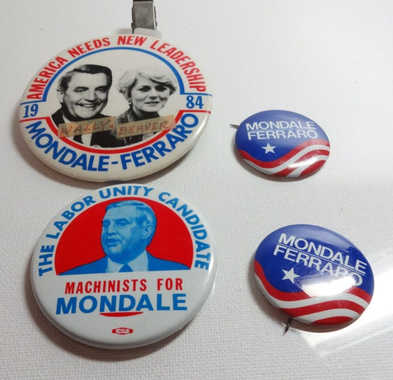 4 Politcal Pins- Mondale/Ferraro-Machinists for Mondale, Labor Unity