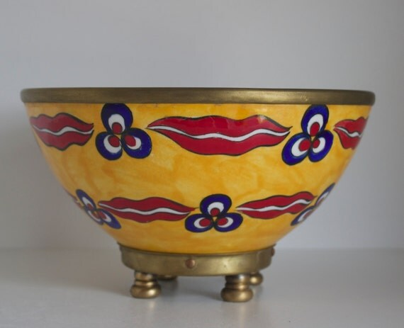 Ceramic Bowl With Copper Stand and Edge, Large Bowl, Yellow Serving Bowl, Fruit Bowl, Yellow Red Tableware, Handmade Ceramic Bowl, Bowl, Art