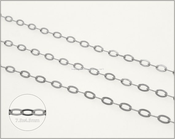 8 ft.+ Soldered Flat Oval Cable Chain, Cross Chain - Rhodium Plating
