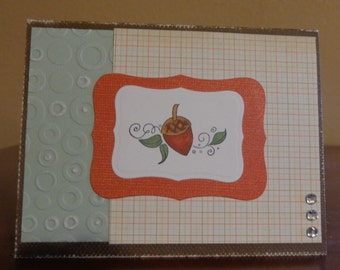 Distressed card with acorn