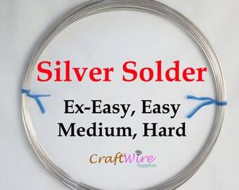 Silver Solder Wire, 20 Gauge, Silver Wire Solder, Extra-Easy, Easy, Medium, Hard, 5 10 25 feet