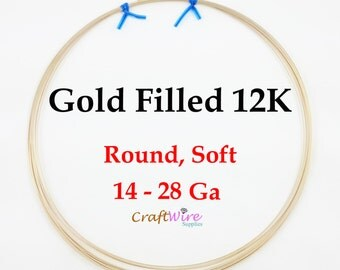12/20 Gold Filled Wire, Round, Dead Soft, 14 16 18 20 22 24 26 28 Gauge, 12K Gold Filled, 1/20, Jewelry Wrapping DIY Craft Supplies