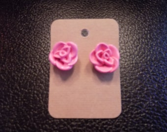 Polymer Clay Pink / Red / White / Painted Red Rose Silver Post Earrings