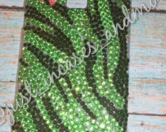 Zebra print cell phone case/Custom decorated phone case/zebra print rhinestone phone case/christmas gift/gift for her/gift for mom