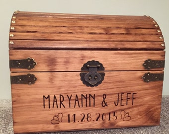 Extra Large! wedding card box, treasure chest style, rustic wedding box with heart accents