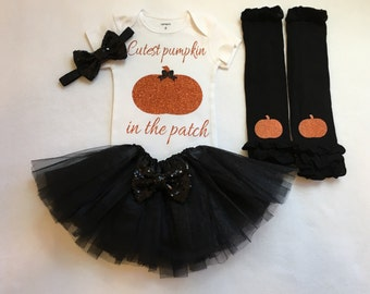 Baby girl halloween outfit, cutest pumpkin the the patch, newborn halloween, baby girl halloween, halloween outfit, 1st halloween, pumpkin