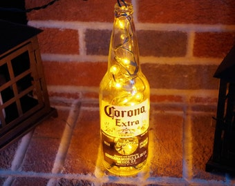 Light Up Beer Bottle Lamp- Corona  - Lighted Decorated Bottle / Lamp / Bar / Party / Night Light
