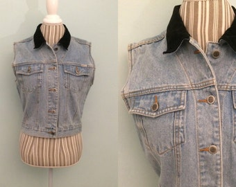 Vtg 90's denim vest / women's medium