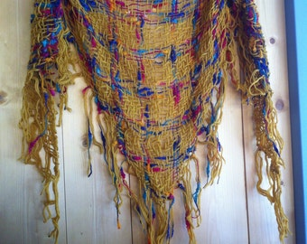 SHAWL scarf wool 100% wool.  Triangle loom. SHAWL. handwoven.