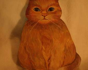 Wooden Painted Orange Cat