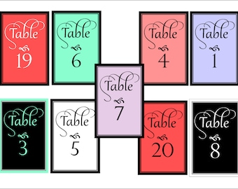 Table number cards, wedding table cards, reception table cards, 4 x 6 printable wedding table numbers, DIY  customized to your colors.