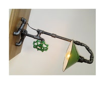 Pipe Lamp style Shade industrial Upcycled table lamp - Steampunk Upcycled style light