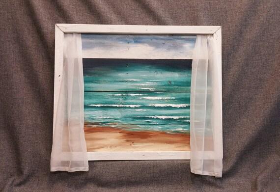 Beach Painting Window Frame Beach Pallet Wood Wall Art