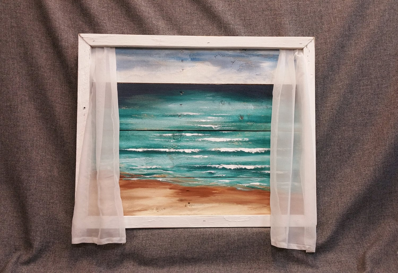 Octopus shower curtain cafe press - Beach Painting Window Frame Beach Pallet Wood Wall Art Ocean Curtains Upcycled Handmade Seascape Horizon Ocean Distressed Shabby