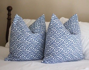 lacefield trellis print pillow cover, cobalt pillow cover, geometric print, blue pillow cover